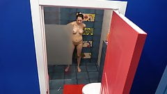 MILF in the shower hidden spy cam