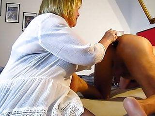 Horny whore licks husband's ass +dildo and blowjob...