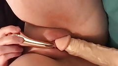Clit twitches after her pussy is pounded with dildo and vibe