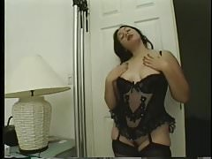 Chubby brunette lingerie interracial fucking