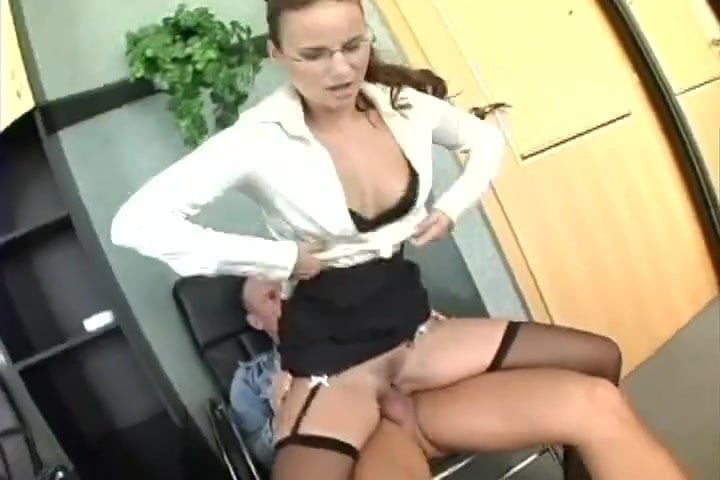 Busty Secretary In Sheer Pantyhose Has Office Sex Lingerie