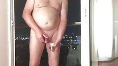 jeff mitchell drinks piss on hotel balcony
