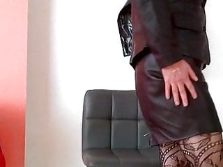 Preview 3 of Coming home in leather suit from office