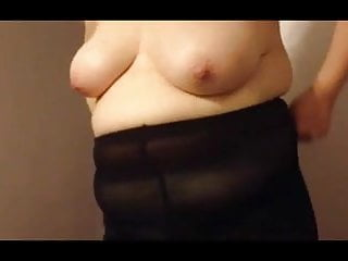 white pantys, black tights, black girdle over big tits