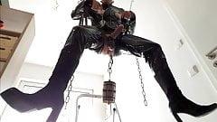 Suspended Sissy Slave Boy Slut Titplay and Cockjerk