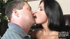 Cuckold love to clean his wife covered by black cum