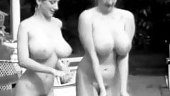 Two Busty Girls Shaking Boobs in Pool (1960s Vintage)
