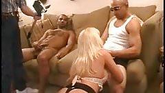 Blonde slutwife in a gangbang with blacks