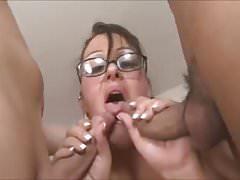 naughty bbw fucks two dicks in DP