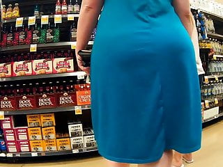 Pawg blue dress thick booty wobble