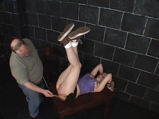 Horny guy loves spanking a cute gal-slave for his pleasure