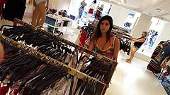 Candid voyeur gorgeous thin model shopping cheeks out