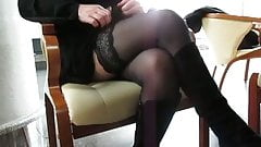 Girl check her stockings in public cafe