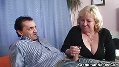 Busty granny in stockings swal