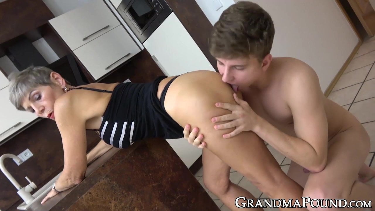 Classy old babe pussy fucked by horny young man