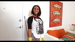 Black cleaning lady has a booty