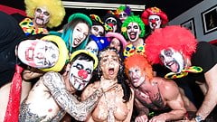 CROWD BONDAGE - Kinky clown orgy party for slave girl's Thumb