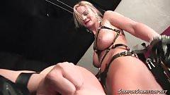 Blonde femdom Mistress strapon action