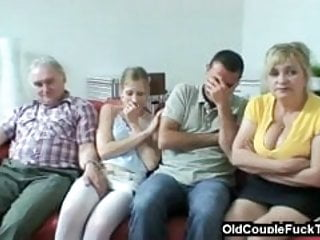 Young Couple Fuck On The Sofa And The Mother Watches