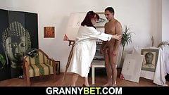 Old woman getting naked before riding his cock