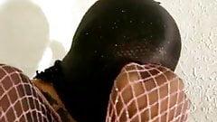 encased girl rubbing herself
