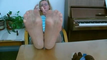 milf after work tired pantyhose dirty feet