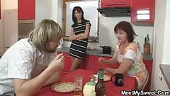 Threesome fucking after breakfast