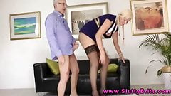 Young blonde giving head to an old man's Thumb