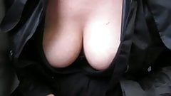 Touching her tits in a train