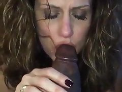 Gorgeous Milf Sucking a Big Black Cock's Thumb