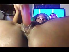 Horny Ebony Solo Sex Dildo Play