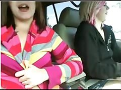 Camgirls play in car in public