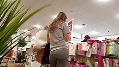 Grey Leggings tight white girl booty