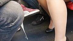 NYLON-SPY 01. Pantyhose Voyeur in subway.