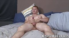 Athletic young soldier Jake Jordan shows off his big cock