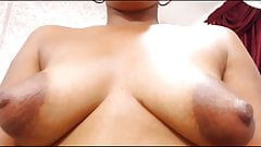 Chocolate tipped puffy nips on small tits