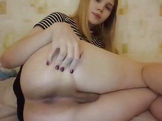 Young beautiful girly boy nymph tranny masturbates anal