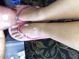 More cum on feet in flip flops