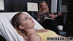 Lesbo MILF therapist scissoring with her hot young patient