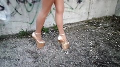 My legs in body pantyhose and Golden Heels 20 cm