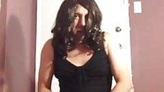Lisa lust wearing a black dress