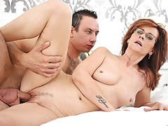 Small titted mommy playing with a horny guy