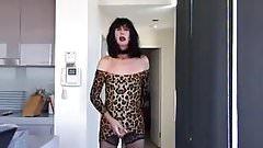 Slutty leopard print mini cum job