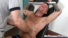 Bound hunky amateur Hoytt Walker feet tickled and tormented