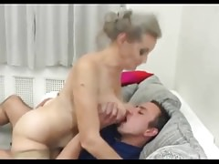 Grey haired granny fucks young boy