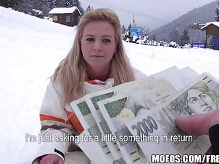 Busty blonde skier is paid to come back to the lodge
