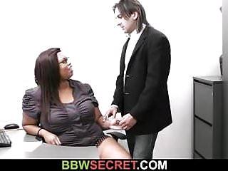 Chubby ebony secretary rides boss's cock