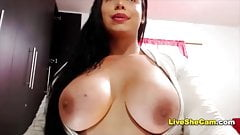 Voluptuous shemale shows big ass big boobs