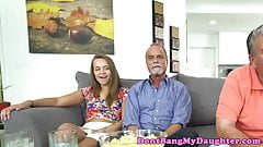 Teen babe pussylicked by stepdads friend