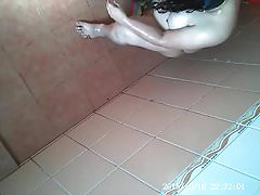 Pregnant wife caught bathing